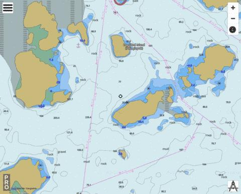 South of / Sud de Drawbucket Tickle Marine Chart - Nautical Charts App