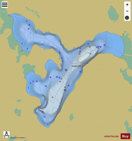 Proulx Lake Fishing Map - i-Boating App