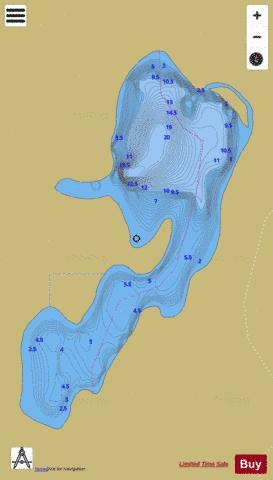Red Deer Lake Laurier Fishing Map - i-Boating App