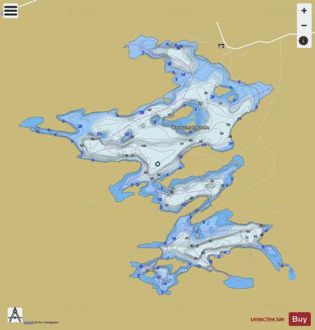 Duck Lake + Wauquimakog Lake / Wilson Lake Fishing Map - i-Boating App