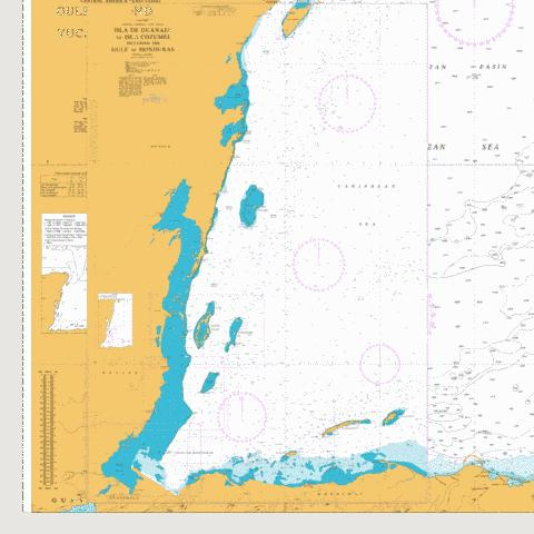 Isla de Guanaja to Isla Cozumel including the Gulf of Honduras Marine Chart - Nautical Charts App