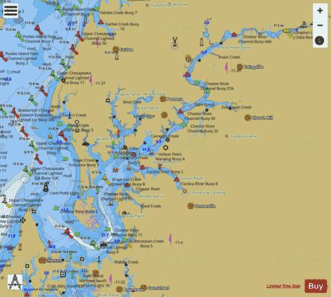 CHESAPEAKE BAY - MARYLAND CHESTER RIVER Marine Chart - Nautical Charts App