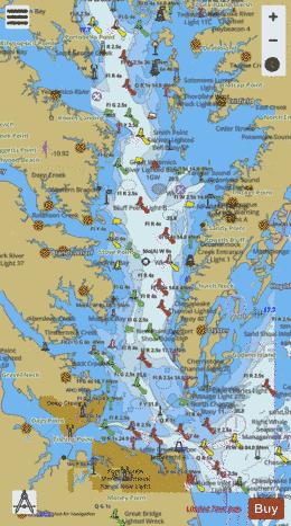 Chesapeake bay southern part marine chart us12280 p2975