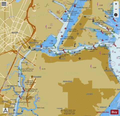 KILL VAN KULL AND N. PART OF ARTHUR KILL NY-NJ Marine Chart - Nautical Charts App