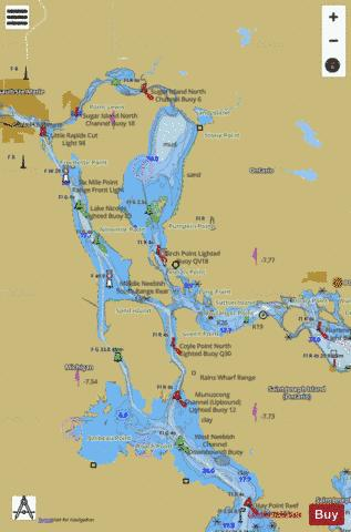ST MARYS RIVER MUNUSCONG LAKE TO SAULT STE MARIE  Marine Chart - Nautical Charts App