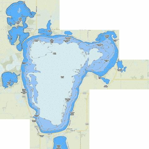 Spirit Lake Fishing Map - i-Boating App