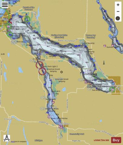 Charlevoix, Lake Fishing Map - i-Boating App