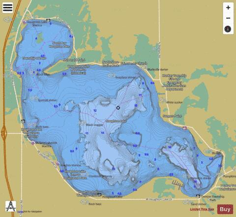 Houghton Lake Fishing Map - i-Boating App