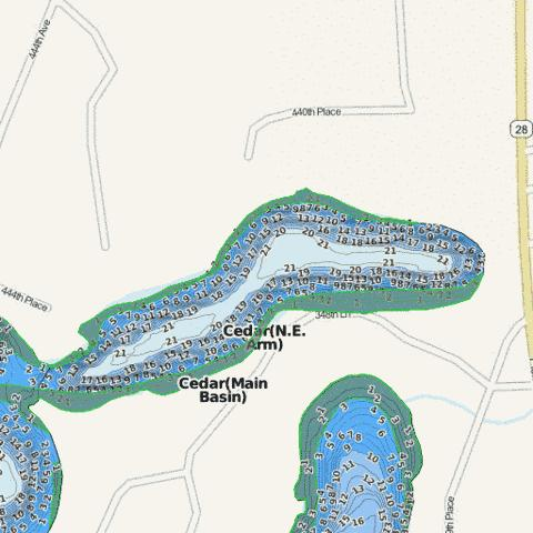 Cedar(N.E. Arm) Fishing Map - i-Boating App