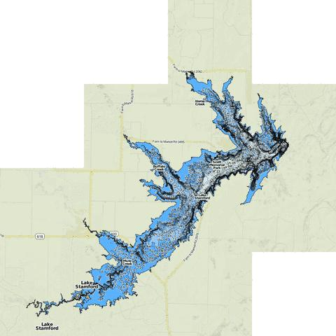 Lake Stamford Fishing Map - i-Boating App