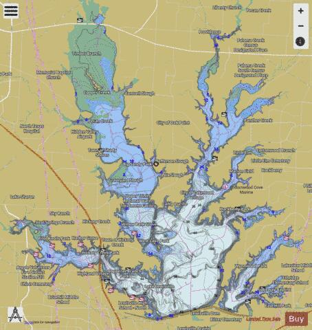 Lewisville Fishing Map - i-Boating App