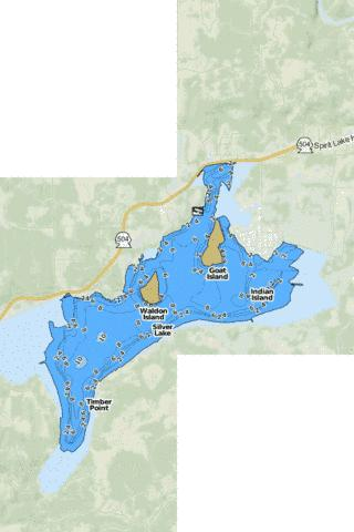 Silver Lake Fishing Map - i-Boating App