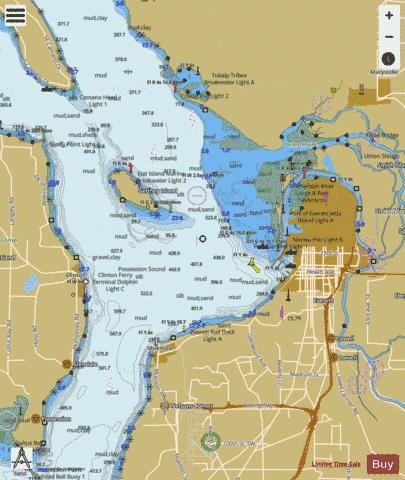 APPROACHES TO EVERETT Marine Chart - Nautical Charts App