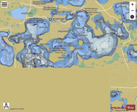 Minnetonka-Upper Lake Fishing Map - i-Boating App