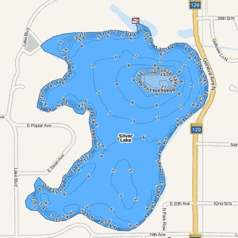 Silver (East) Fishing Map - i-Boating App