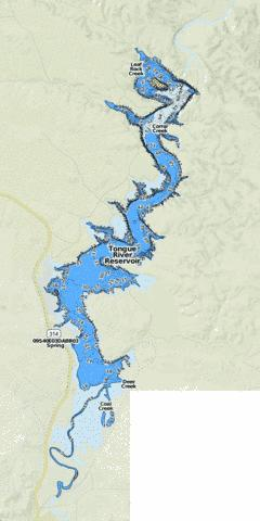 Tongue river reservoir fishing map us mt 00777705 for Standley lake fishing