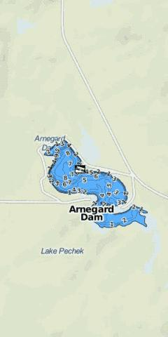 Arnegard Dam Fishing Map - i-Boating App