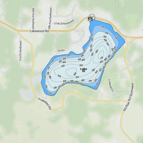 Lake Ki Fishing Map - i-Boating App